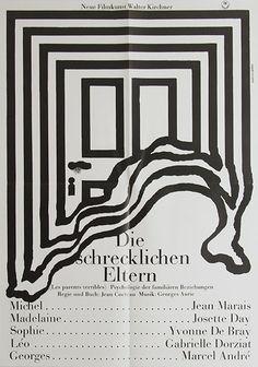 Hans Hillmann, poster for Die schrecklichen Eltern (Les parents terribles), 1964