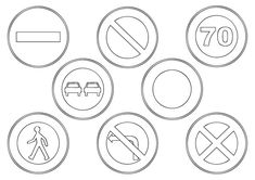Imprimer des coloriages de panneaux de signalisation de danger sur la route : panneau de signalisation danger