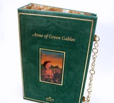 Anne of Green Gables - a Book Clutch Purse in Green Velveteen with a chain strap! Available at RokkiHandbags on Etsy!