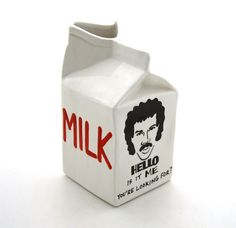 Hello is it Me Lionel Richie ceramic milk carton pitcher. $24.00, via Etsy.