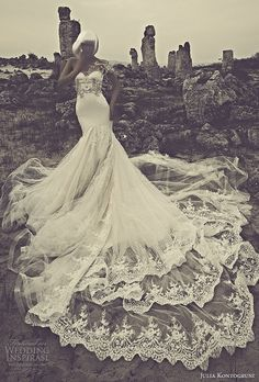 julia kontogruni 2015 mermaid wedding dress illusion front view
