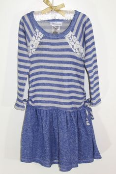 BONNIE JEAN Girls One Piece Striped French Terry Blue Dress Sz 5 NEW #BonnieJean #DressyEverydayHolidayPageantWedding