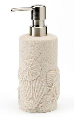 Super beachy soap dispenser pump. Featured on BBL: http://beachblissliving.com/beach-bath-accessories/