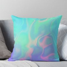 'Rainbow Sea Holographic Iridescence' Throw Pillow by SimpleLuxe Dream Bedroom, Girls Bedroom, Bedroom Decor, Cute Pillows, Throw Pillows, Natural Bedroom, Teal Coral, Purple, Blue Rooms