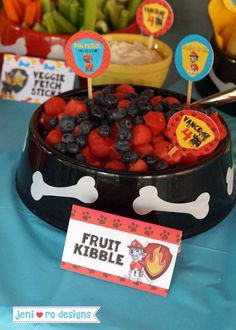 Fun snacks at a Paw Patrol birthday party! See more party planning ideas at CatchMyParty.com!