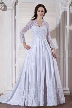 Classic White Beading V-Neck Long Sleeves Satin Bridal Wedding Dress Plus Size Wedding, Bridal Wedding Dresses, Classic White, Satin, V Neck, Romantic, Beads, Formal, Long Sleeve