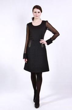 Gorgeous Black Houndstooth ALine Skirt by LyudvigaCouture on Etsy, $245.00