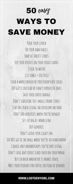 50 Easy Ways To Save Money - gen y girl - Finance tips, saving money, budgeting planner Ways To Save Money, Money Tips, Money Saving Tips, How To Manage Money, Money Saving Hacks, Saving Money Quotes, Money Plan, Quick Money, Budgeting Finances