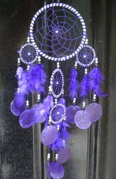 purple dream catcher | Lovely multiple (5 rings) dream catcher withopaque capis shell discs ...                                                                                                                                                                                 Más