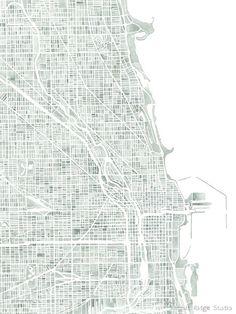 Chicago 10x8 print Map Decor watercolor seaglass by SummitRidge