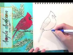 Cardinal Drawing Tutorial | How to Draw Birds | Step by Step Art Lesson | Angelooney Winter Event - YouTube