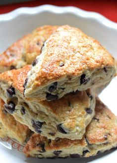 Brown Sugar Chocolate Chip Scones that I made for breakfast today. They are absolutely delicious. You can find the recipe right here. // Angela