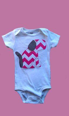 Modern girl shirt onesie chevron baby dog puppy pink Riley Blake fabric. $15.95, via Etsy.