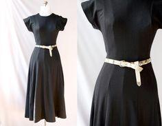 Vintage 80's Black Dress & Leather  Belt by VintageCommon on Etsy, $45.00