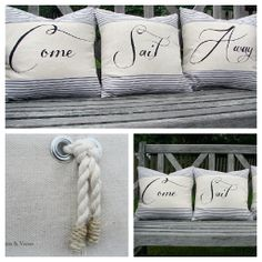 """""""Come Sail Away"""" Pillow Cover Set of 3"""