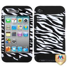 MYBAT TUFF Hybrid Case for Apple iPod Touch 4G - Zebra Skin/Black
