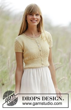 Spring Fling - bolero with lace pattern and small cables Free #knitting pattern by @DROPSDesign