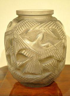 Pierre d'Avesn Vase Hirondelles Art Déco 1930 , Plus d'infos...