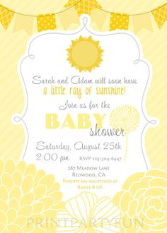 Little Sunshine Baby Shower Printable Invitation DIY   Yellow Stripes,  Invite, Personalized, You