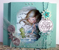 "Mermaid ""Shelly"" from Whimsy Stamps    Shadowbox card"