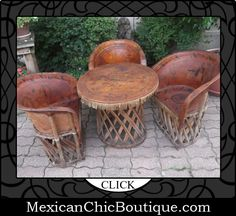 This is what i want in my patio, plus a rocking chair!  Mexican Furniture | Furniture | Home Decor | Mexican Art | Mexican Folk Art | Home Decorating Accessories | Shop Now ♥ 4 –Piece Set of Mexican Equipale Furniture Mexican Folk Art Drum Table & Chairs $850.00