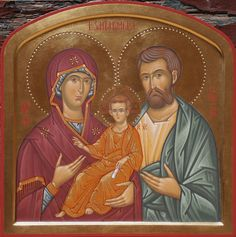 Holy Family by Monia Bucci Byzantine Art, Madonna And Child, Holy Family, Orthodox Icons, St Joseph, Mother Mary, Art Reproductions, Christianity, Catholic
