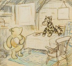 Tiggers Don't Like Honey was drawn for the 1958 edition of AA Milne's The World of Pooh, but never published.