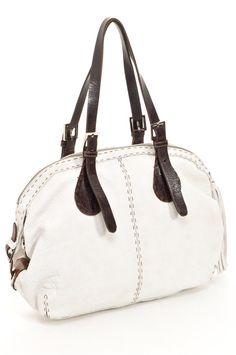 Elyse Shoulder Bag with Tassel in Off White Leather