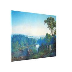 Blue Vintage Lake Canvas Print
