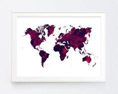 Dark Red World Map Burgundy World Map Print Marron World Map