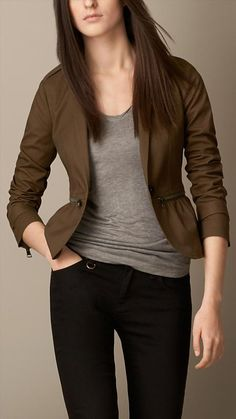 Burberry Brit Military Detail Fitted Jacket