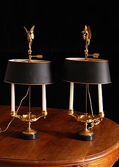 Pair of French Antique Gilt Bronze Retour d'Egypt Bouillote Lamps. I'll put these on the buffet:-) Antique Chandelier, Antique Lighting, Lantern Lamp, Brass Table Lamps, Interior Styling, Interior Design, Decoration, French Antiques, Lava Lamp
