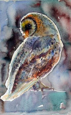 ARTFINDER: Barn owl at night by Kovács Anna Brigitta - Original watercolour painting on high quality watercolour paper. I love landscapes, still life, nature and wildlife, lights and shadows, colorful sight. Thes...