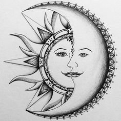 Best ideas for tattoo moon mandala design Sun Drawing, Doodle Art Drawing, Cool Art Drawings, Pencil Art Drawings, Art Drawings Sketches, Sun And Moon Drawings, Nature Drawing, Detailed Drawings, Tattoo Sketches