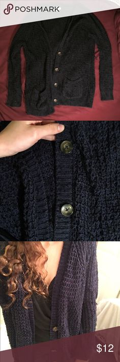 Navy cardigan Navy cardigan with marble brown buttons. Color showed up best in close up phot with bottoms. Garage Sweaters Cardigans