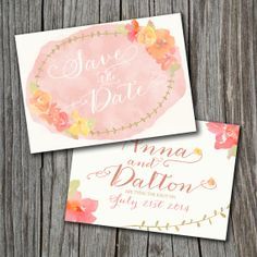 Double Sided Save the Date - Printable, Custom - DIY, VINTAGE, Watercolor