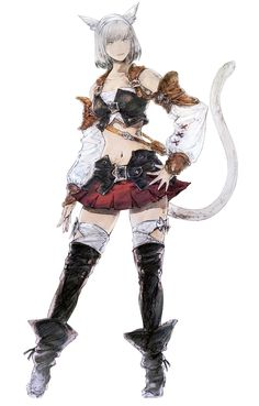 Final Fantasy XIV - Miqo'te Female in Initial Gear