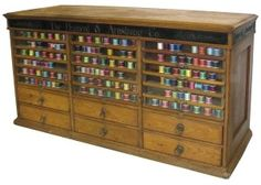 Brainerd Armstrong Co. triple stack spool cabinet with 18 glass front doors and original hardware and brass fittings. My Sewing Room, Sewing Rooms, Glass Front Door, Front Doors, Sewing Cabinet, Yarn Storage, Antique Sewing Machines, Store Fixtures, Antique Boxes