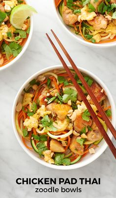 Get more veggies in your Pad Thai without sacrificing any of that yummy noodle flavor with this fun and fresh recipe. This noodle-free dish will make you think twice about zoodles.