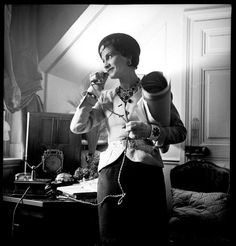 Coco Chanel in her apartment at the Ritz Hotel in Paris