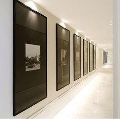 Gallery Solutions Snap Black U-Channel Poster Frame minimalist gallery style corridor; Flur Design, Wall Design, Home Design, Long Hallway, Black Hallway, Black Picture Frames, Black Frames, Long Walls, Small Hallways