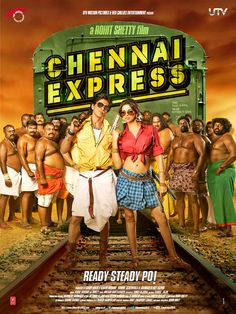 Chennai Express is an upcoming 2013 Indian action romantic comedy film directed by Rohit Shetty and produced by Gauri Khan under her production banner Red Chillies Entertainment. The film features Shahrukh Khan and Deepika Padukone in lead roles. #bollywood #film #movie #cinema #shahrukhkhan #srk #poster #design #chennaiexpress