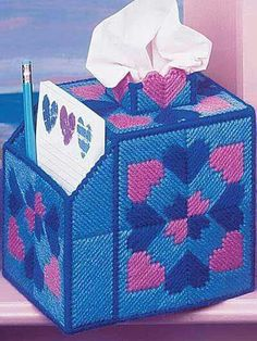 Pink & blue quilt hearts