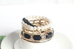 Shiny Temperamental Gemstone Multilayer Charm Black Bracelets for Women