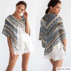 pattern knit crochet woman foulard scarf spring summer katia 8029 490 w Crochet Shawl, Free Crochet, Knit Crochet, Shawl Patterns, Crochet Patterns, Sewing Essentials, Clutch Pattern, Gold Fabric, Yarn Brands