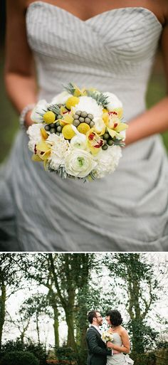 grey and yellow inspiration. love the grey and white striped dress