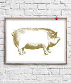 Pig Boar  Print  Home decor wall art pig boar by CherryPosters