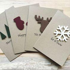 Rustic Holiday Card Set - Set of 8 Christmas Gift Themes, Cork Christmas Trees, Christmas Wall Hangings, Christmas Gift Wrapping, Christmas Centerpieces, Handmade Christmas, Christmas Crafts, Christmas Ideas, Holiday Decor