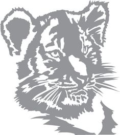 Glass Etching Stencil Of Tiger Cub In Category Wildcats Stencils Wood