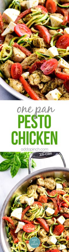 One Pan Pesto Chicken Recipe - This One Pan Pesto Chicken recipe makes a quick and easy answer to what's for supper? Made with chicken, pesto, peppers, tomatoes, zucchini and mozzarella, this will easily become a favorite! // addapinch.com
